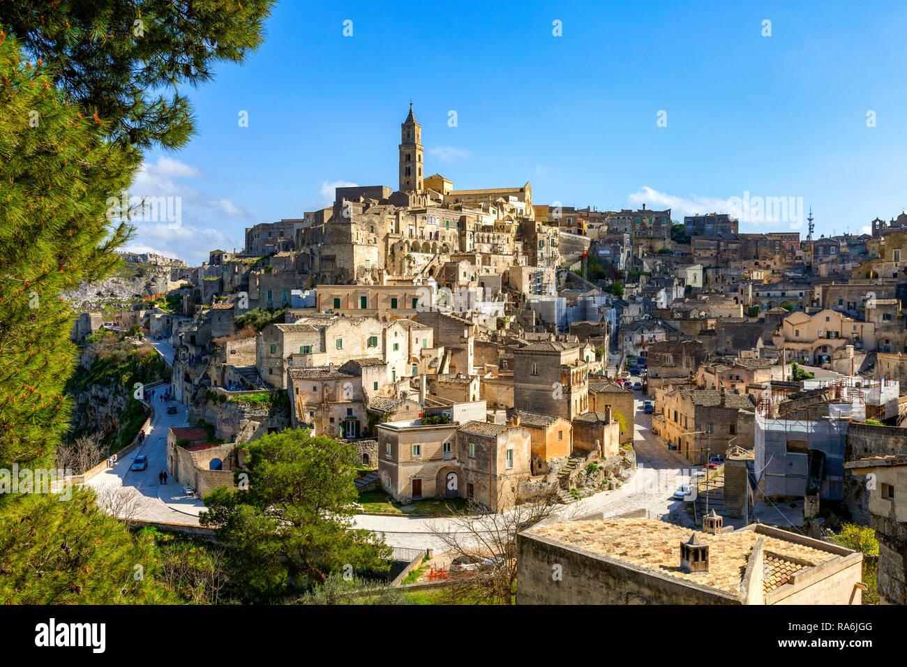 Alte Höhle Stadt Matera, Kulturhauptstadt 2019, Italien Stockbild