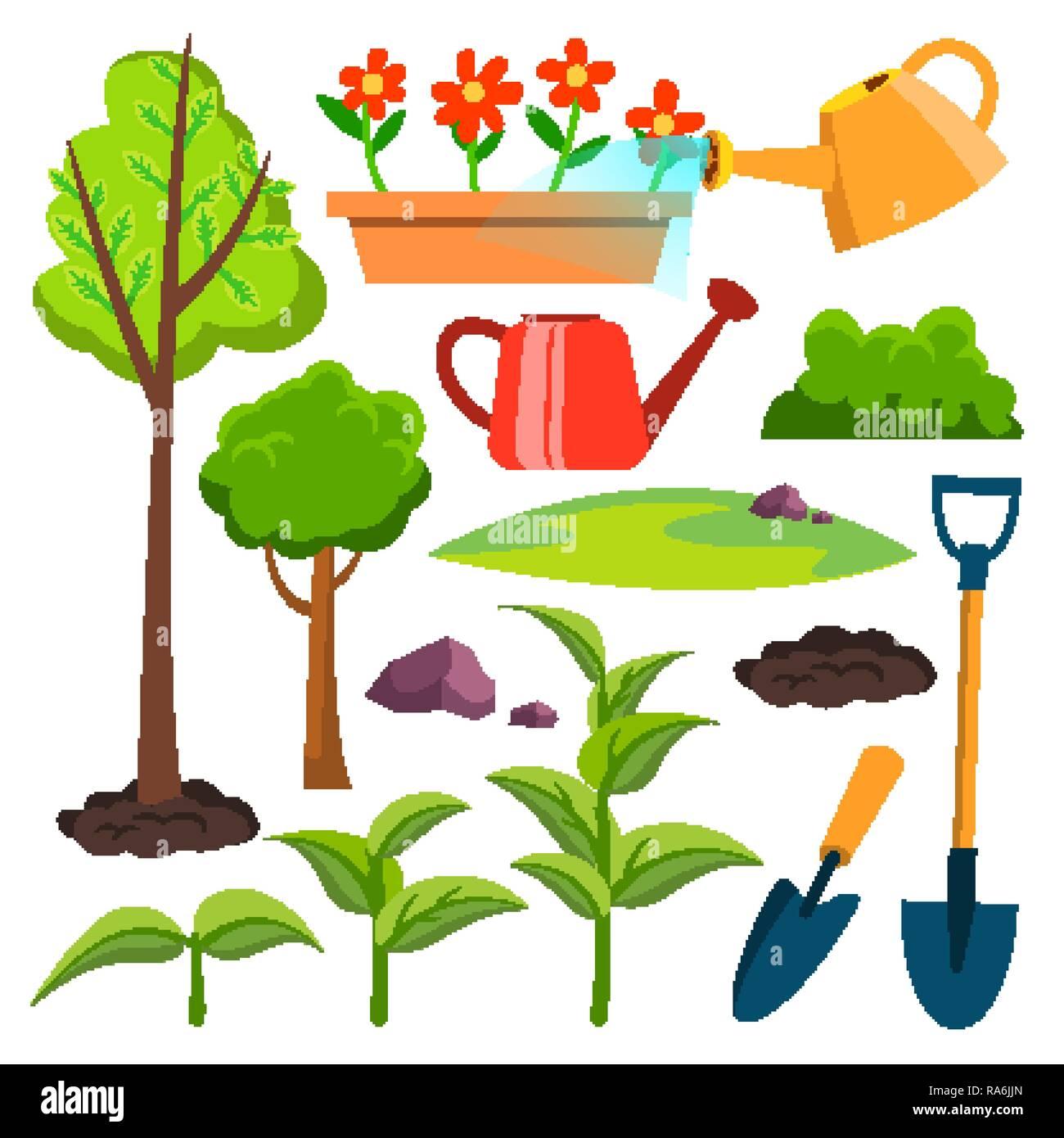 Garten Symbole Vektor Giesskanne Schaufel Baumchen Pflanzen
