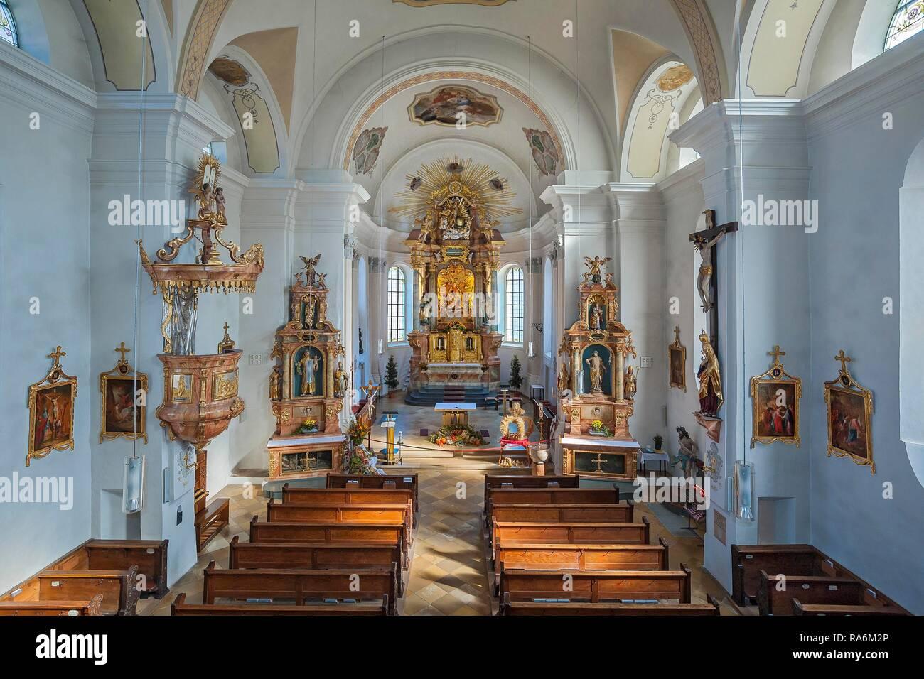 Kirche zu unserer lieben Frau in Oberaudorf, Oberbayern, Bayern, Deutschland Stockbild