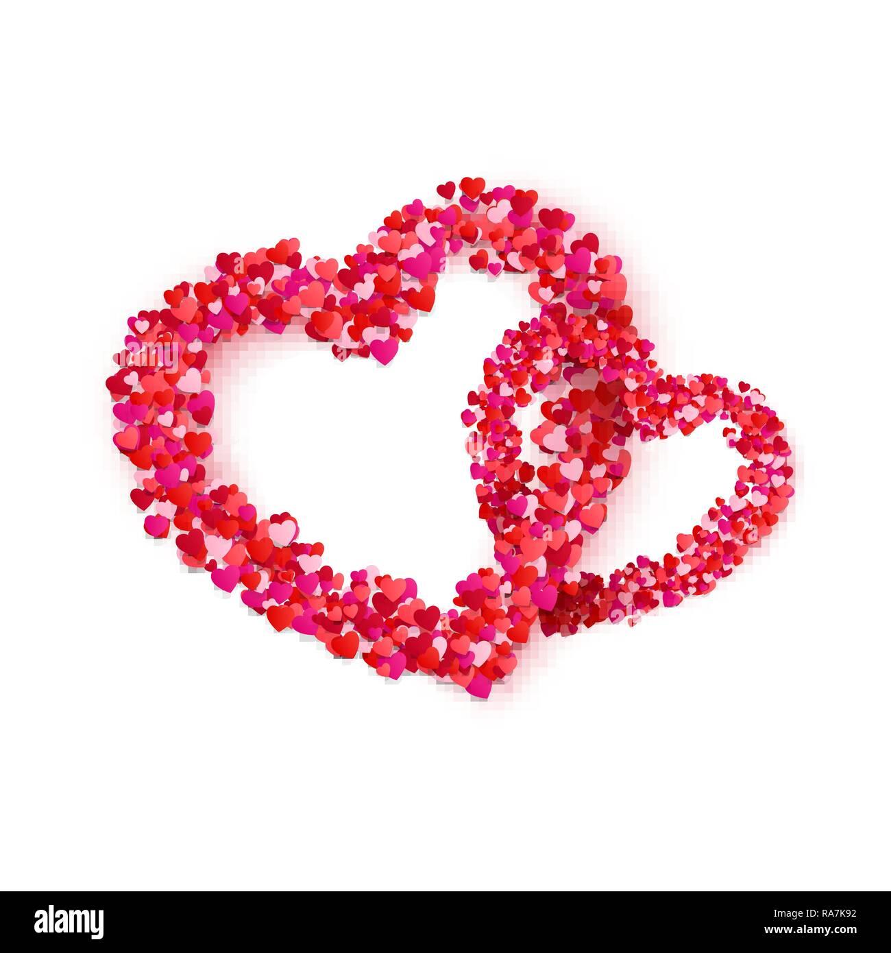 Herz Paar Rahmen Aus Papier Herzen Konfetti Einladung Hochzeit Oder