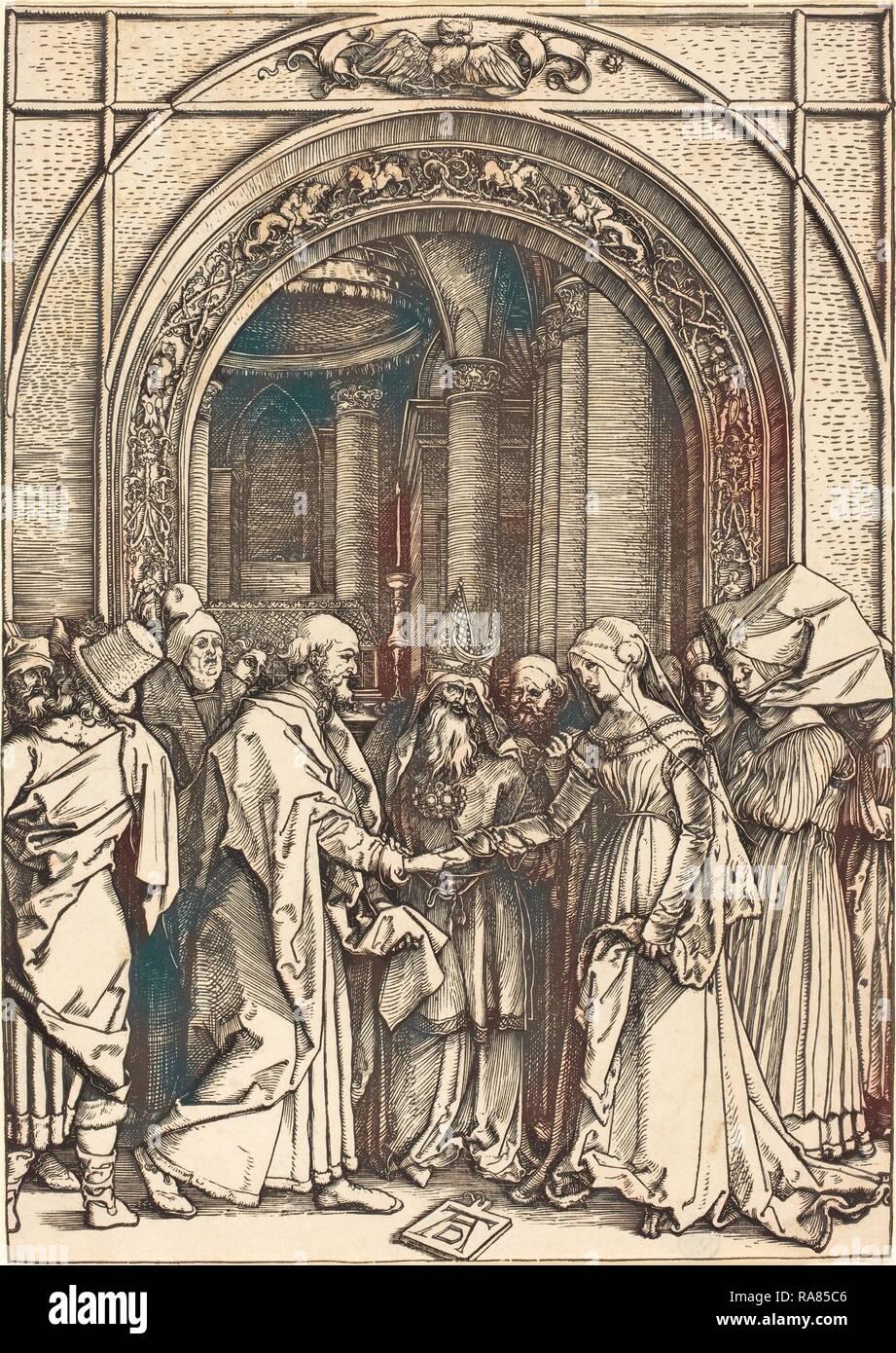 Albrecht Dürer (1471 - 1528), die Verlobung der Heiligen Jungfrau, C. 1504-1505, Holzschnitt. Neuerfundene Stockbild