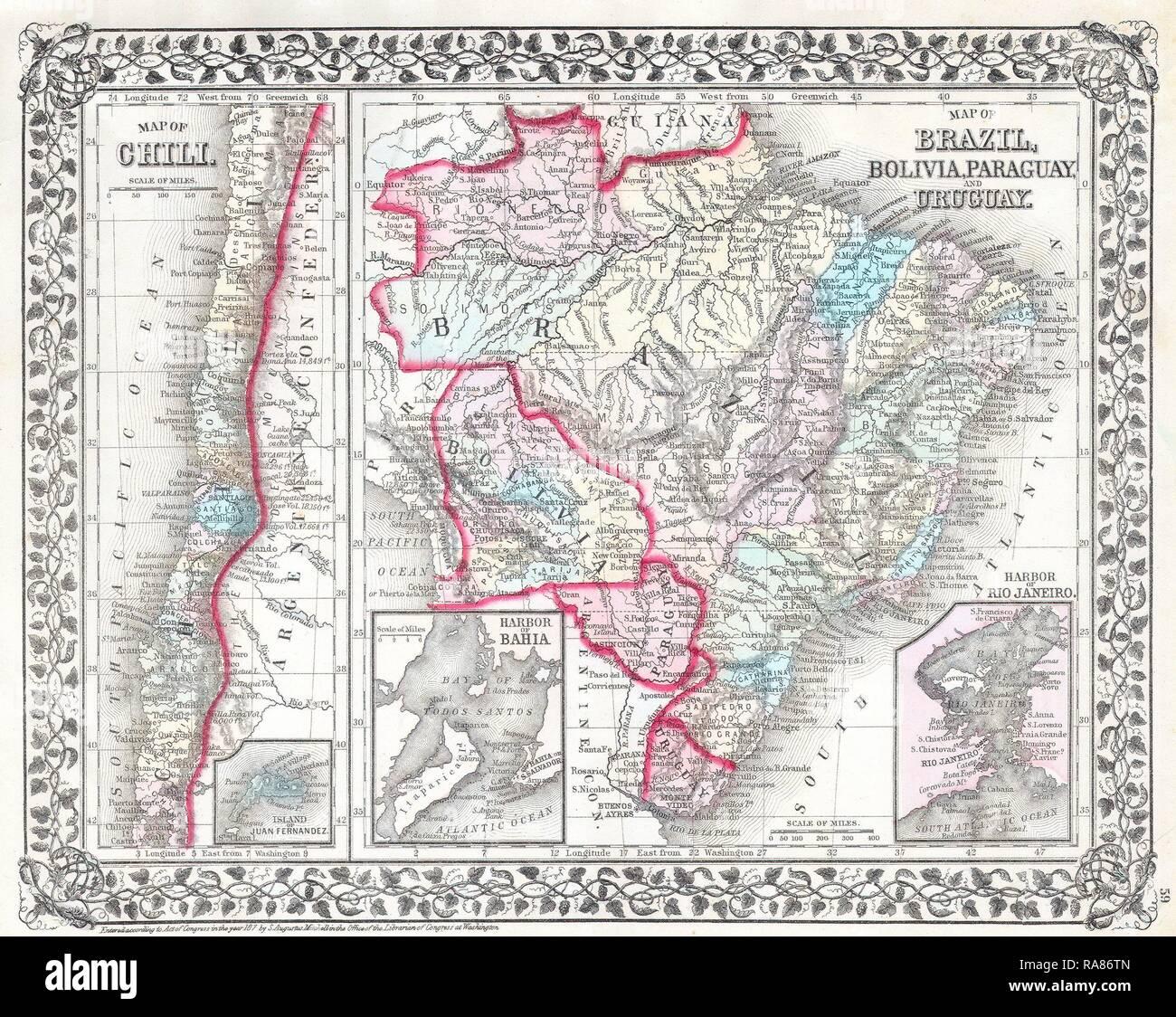 1874 Mitchell Karte Von Sudamerika Brasilien Bolivien