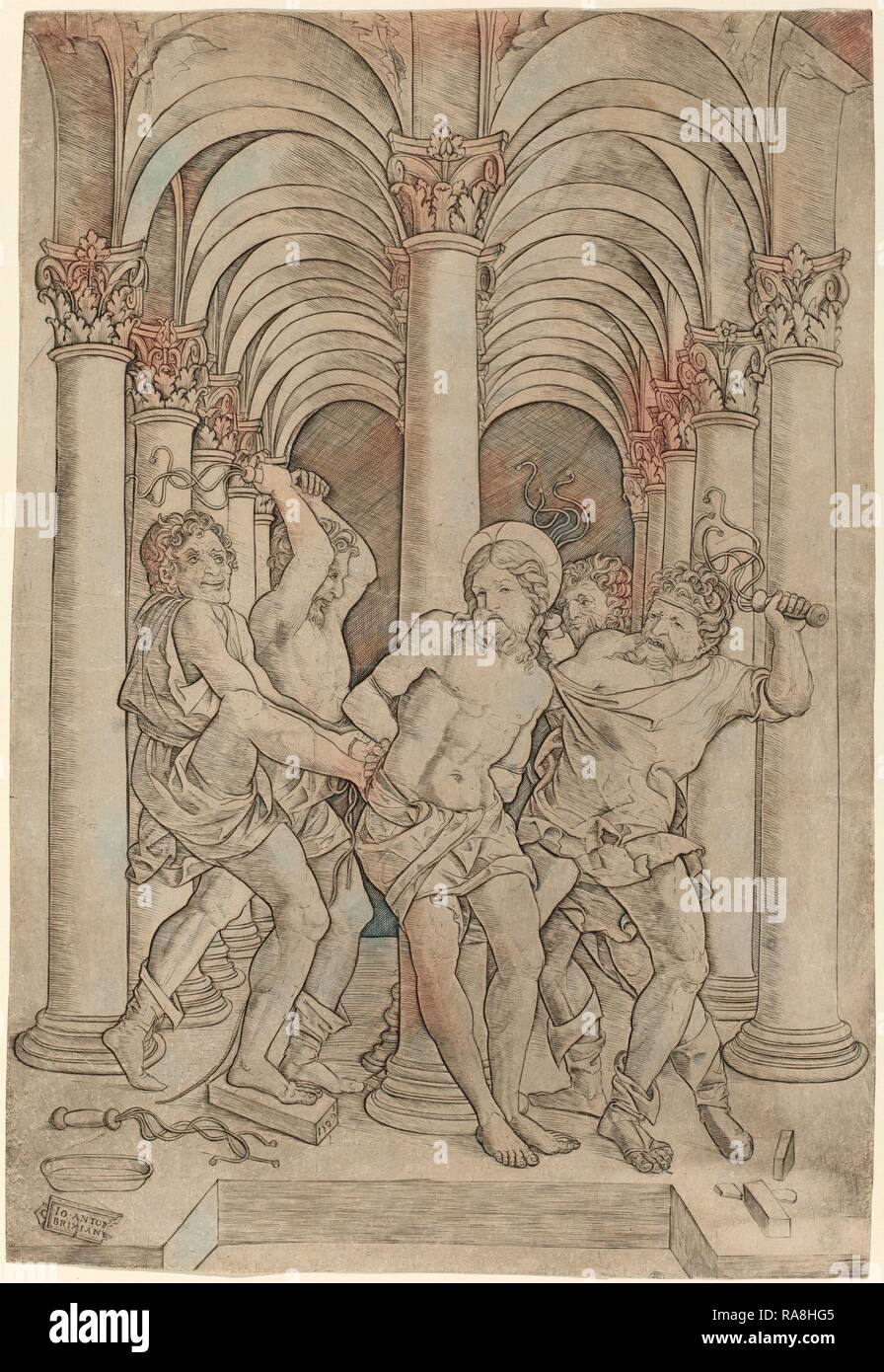 Giovanni Antonio da Brescia (Italienisch, Aktive c. 1490 - 1525 oder nach), Geißelung, 1509, Kupferstich. Neuerfundene Stockbild