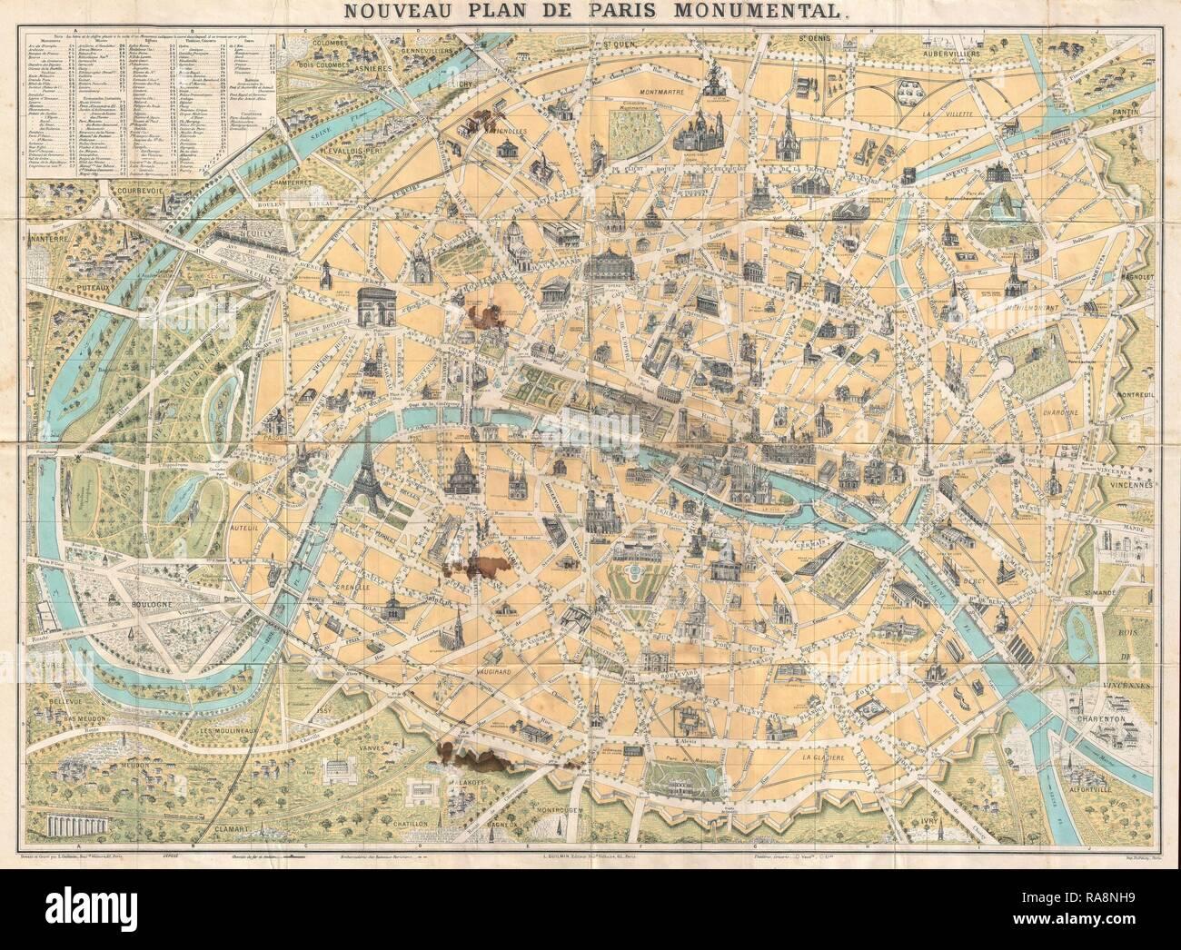 PARIS Frankreich Seine Landkarte city map 1892 on