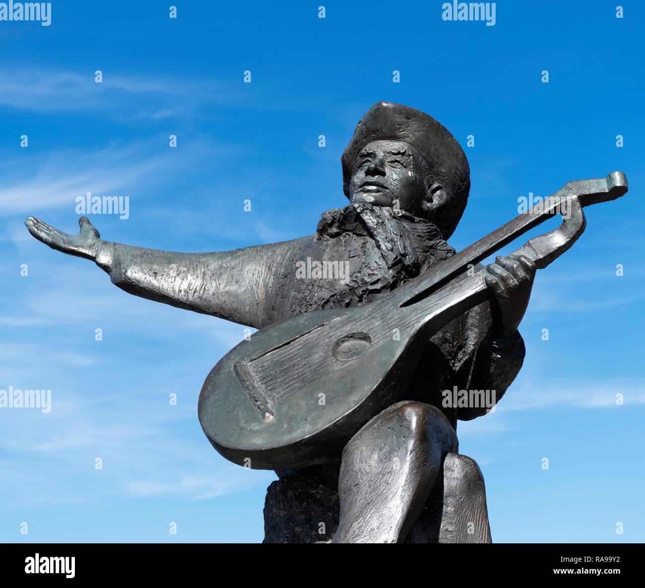 Statue von Evert Taubes Wiedergabe der Laute, Evert Taubes Terrass, Riddarholmen, Stockholm, Schweden Stockbild