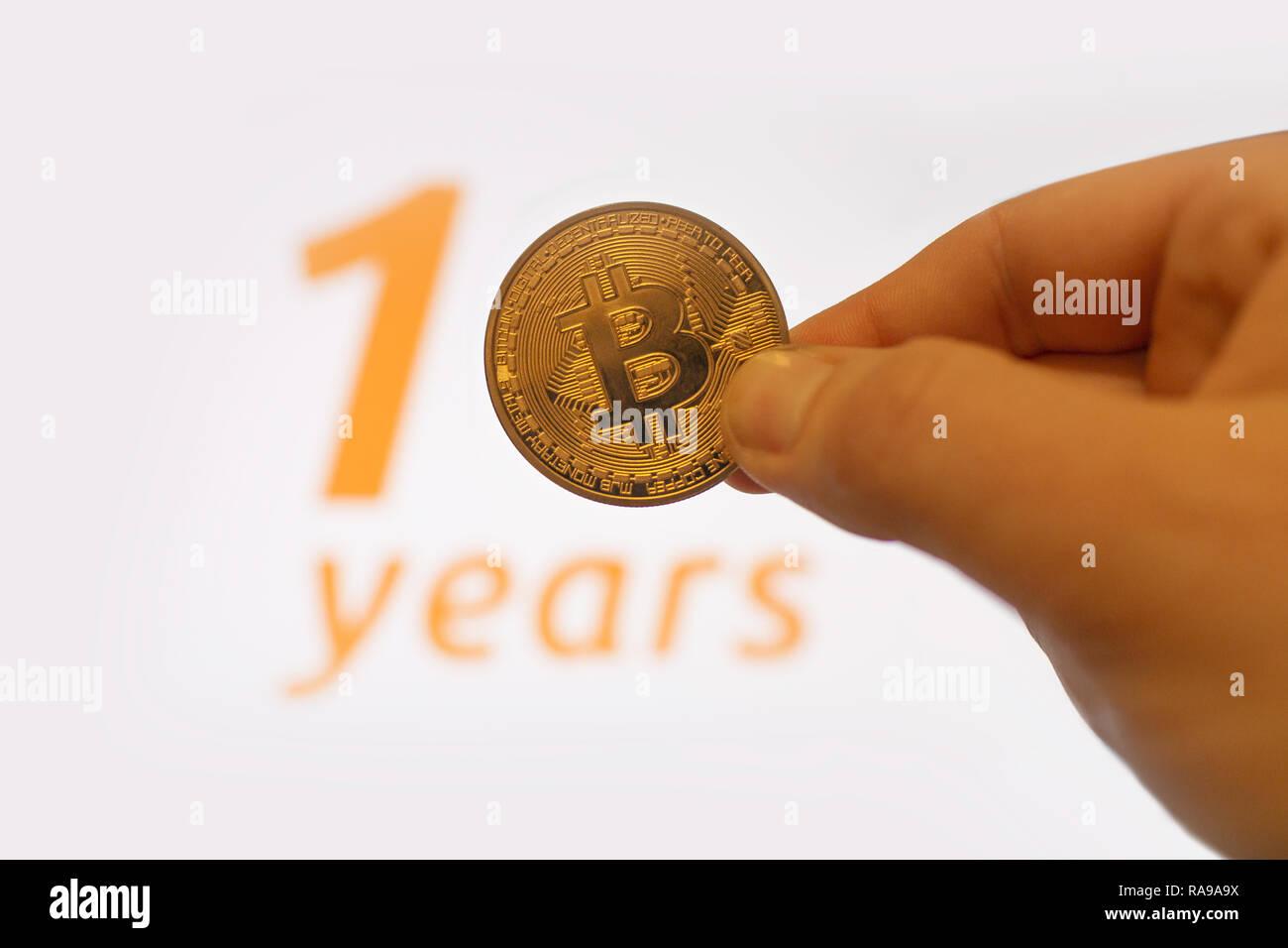 Bitcoin 10. Jahrestag der Genesis Block Stockbild