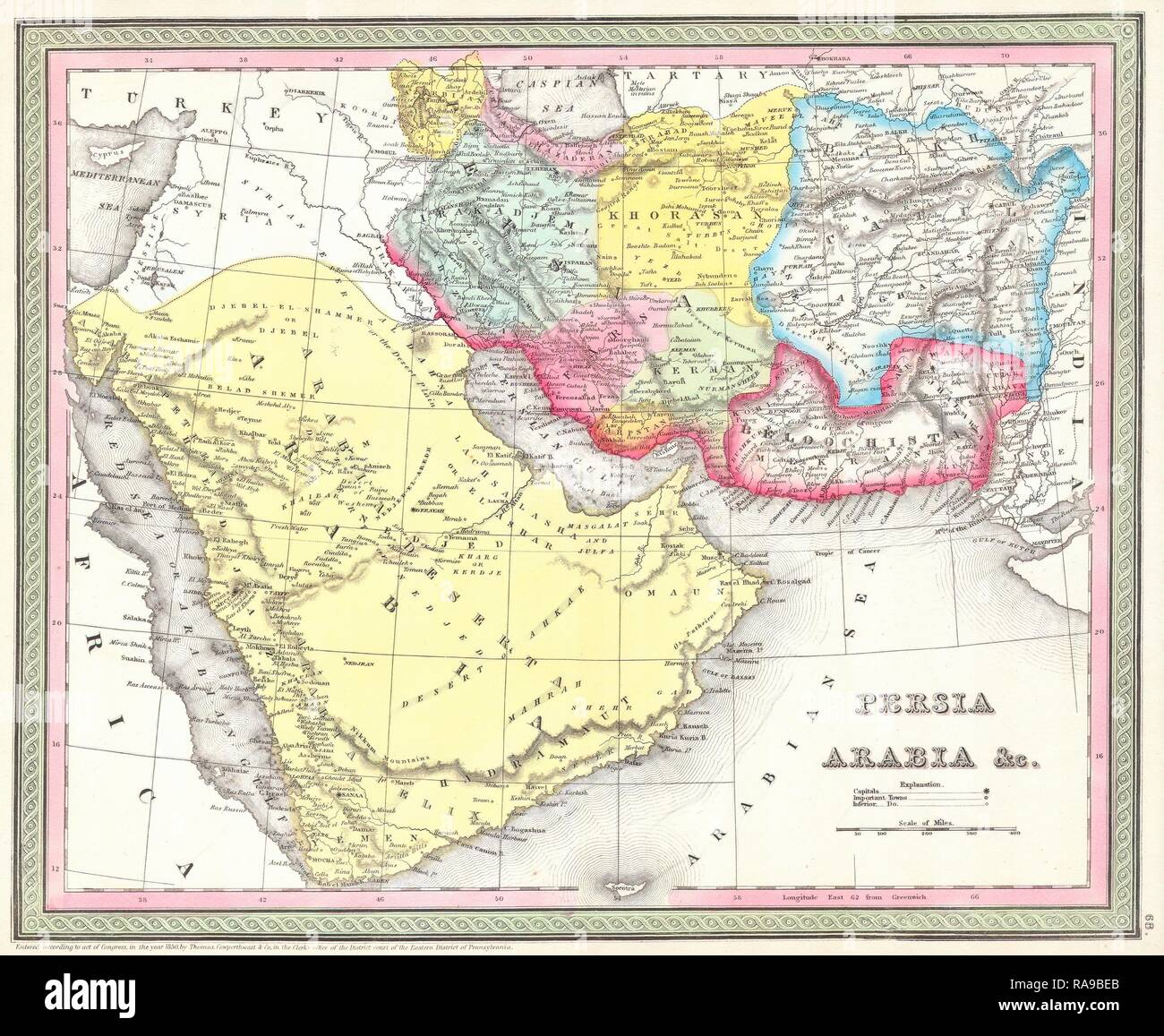 Persien Karte.Mitchell Karte Von Persien Stockfotos Mitchell Karte Von Persien