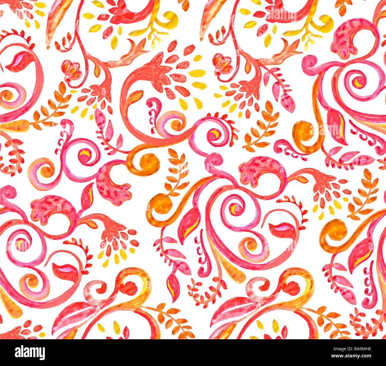 f5b0b1b0abfd24 Rote Blumen Muster auf weißem Hintergrund. Hand Made Aquarell nahtlose  Textur für Kleidung, Stoff