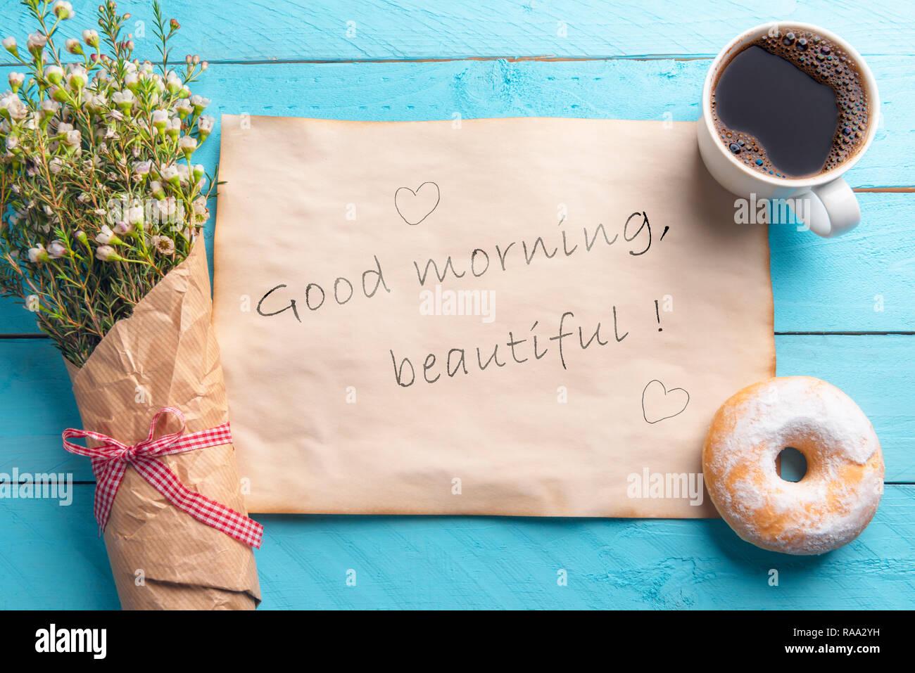 Vintage Papier Mit Guten Morgen Schöne Nachricht Und Herzen