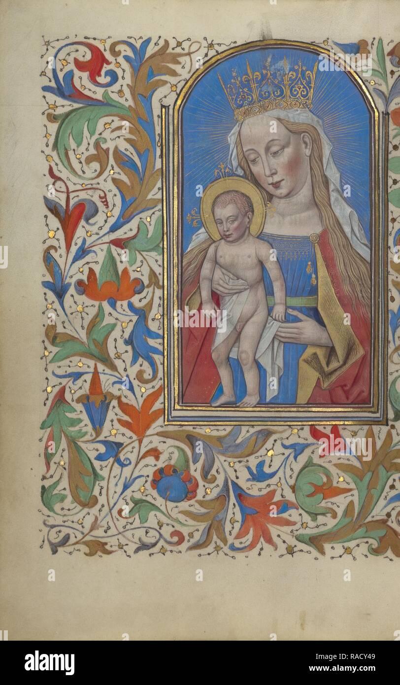 Die Jungfrau und Kind, Gent (wahrscheinlich), Belgien, 1450-1455, Tempera Farben, Blattgold, und Tusche auf Pergament neuerfundene Stockbild