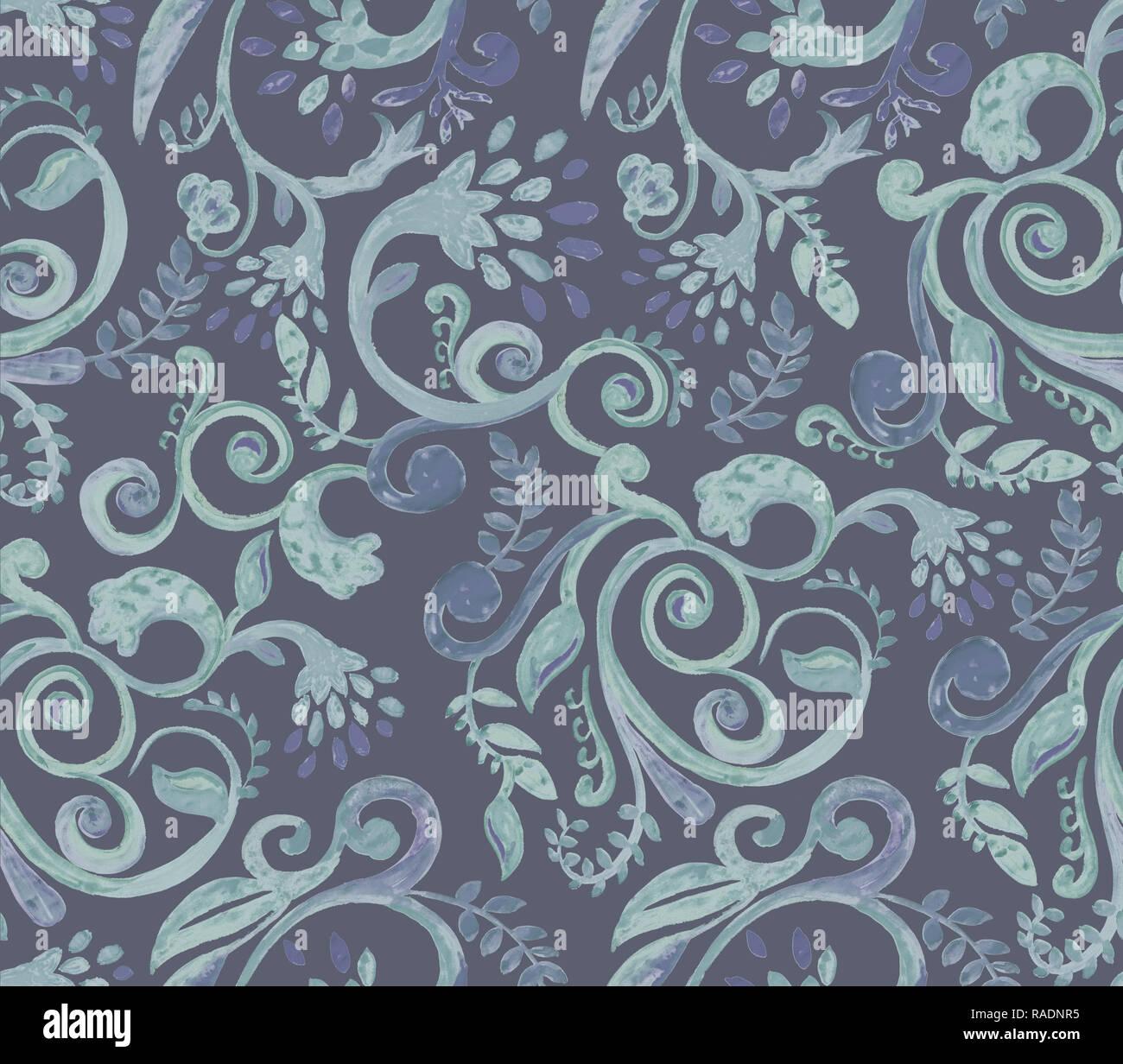 9692f9837e09f0 Dunkelgrün florale Muster auf blauem Hintergrund. Hand Made Aquarell  nahtlose Textur für Kleidung, Stoff