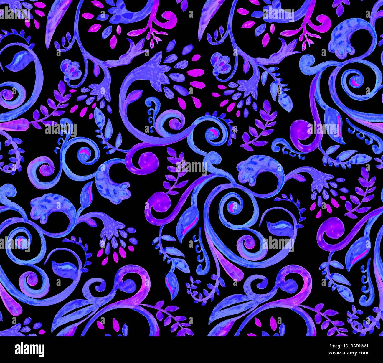 0daed7fbaf909e Blaue Blumen Muster auf schwarzem Hintergrund. Hand Made Aquarell nahtlose  Textur für Kleidung, Stoff