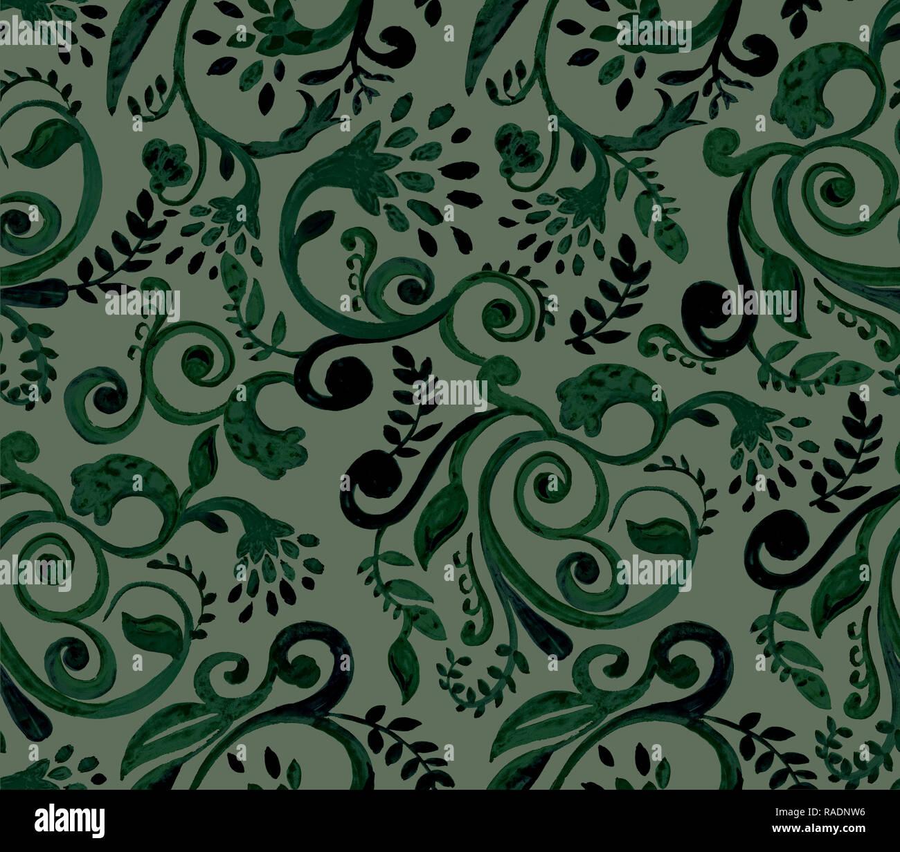 dae2feb1897eec Grüne Blumen Muster auf schwarzem Hintergrund. Hand Made Aquarell nahtlose  Textur für Kleidung, Stoff