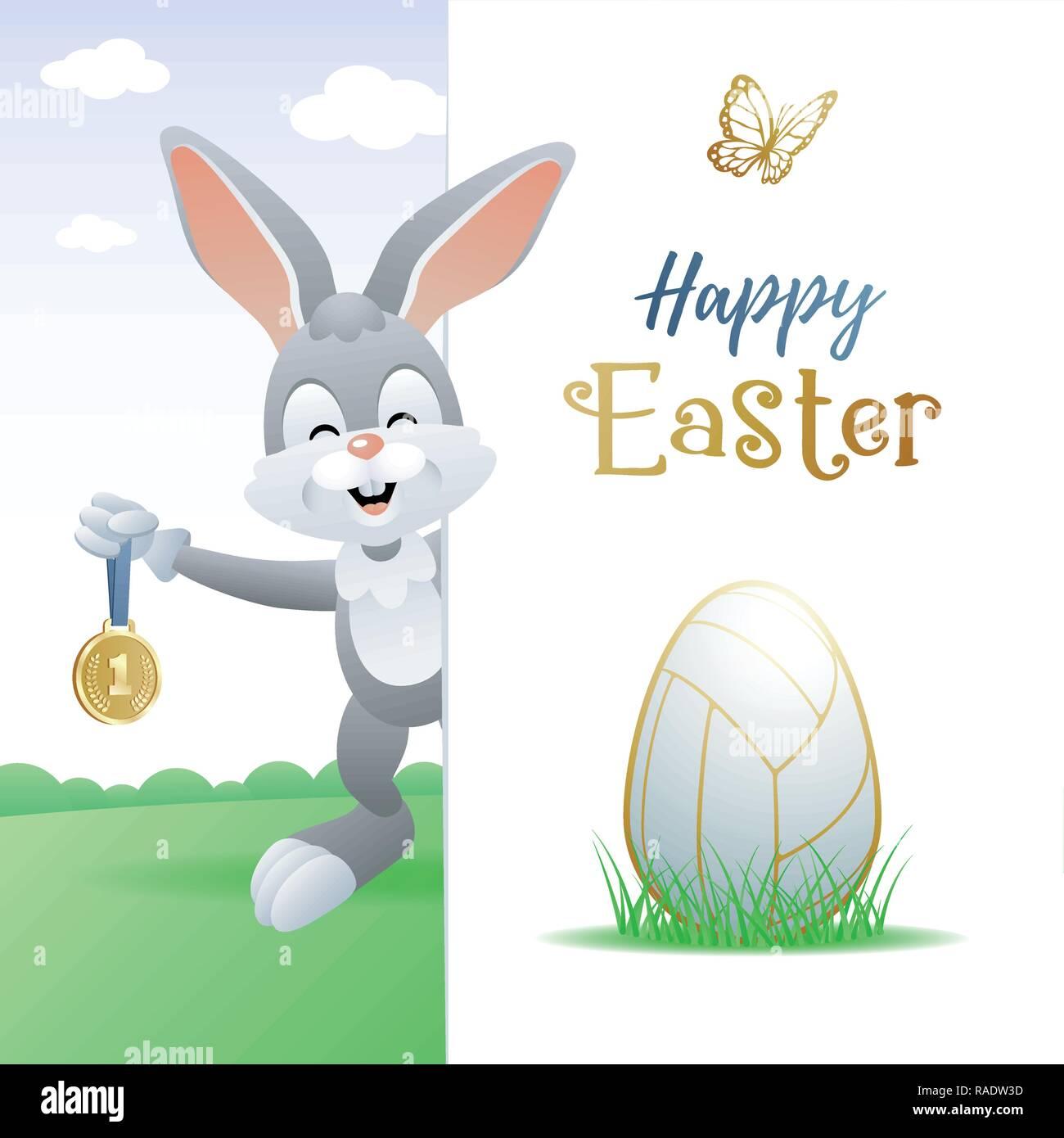 Frohe Ostern Sport Grußkarte Niedliche Kaninchen Mit Volleyball Ei