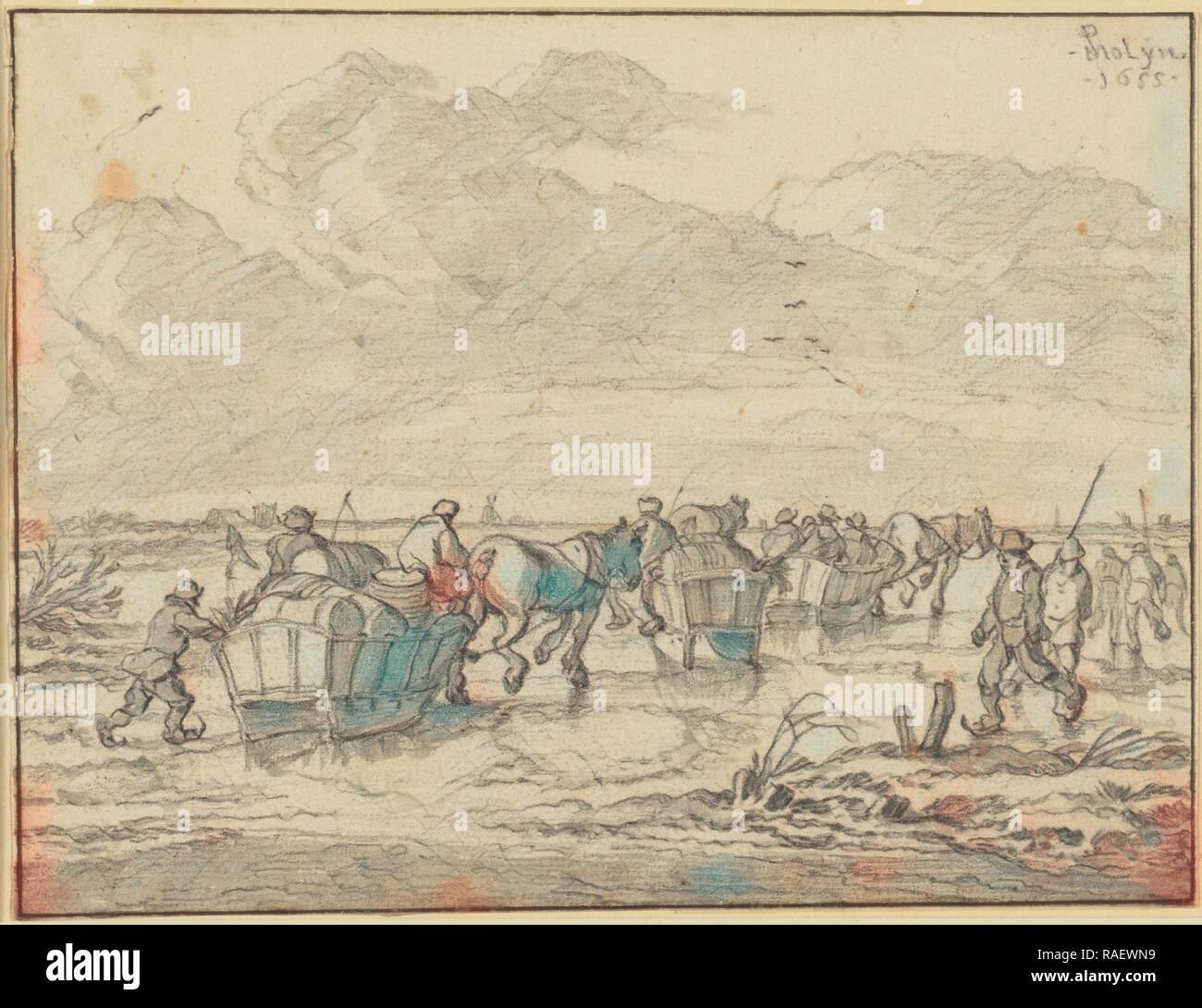 Eine Szene auf dem Eis mit Skater und Wagen, Pieter Molijn (Niederländisch, 1595-1661), 1655, Schwarze Kreide mit grauen Neuerfundene waschen, 14. Stockbild