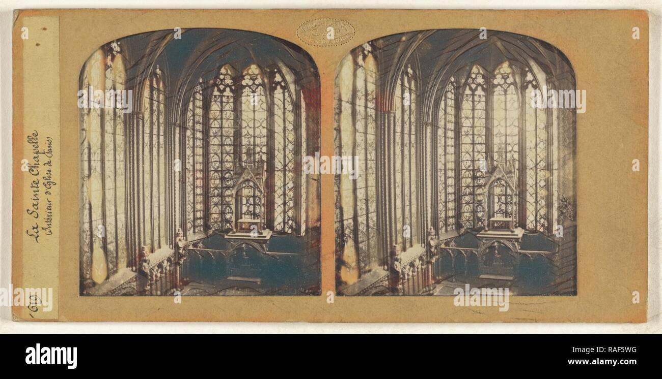 La Sainte Chapelle (Interieur d'Eglise de Paris), F. Grau, G.A.F. (Französisch, aktive 1850s - 1860s), 1855-1865, von Hand überarbeitet Stockbild