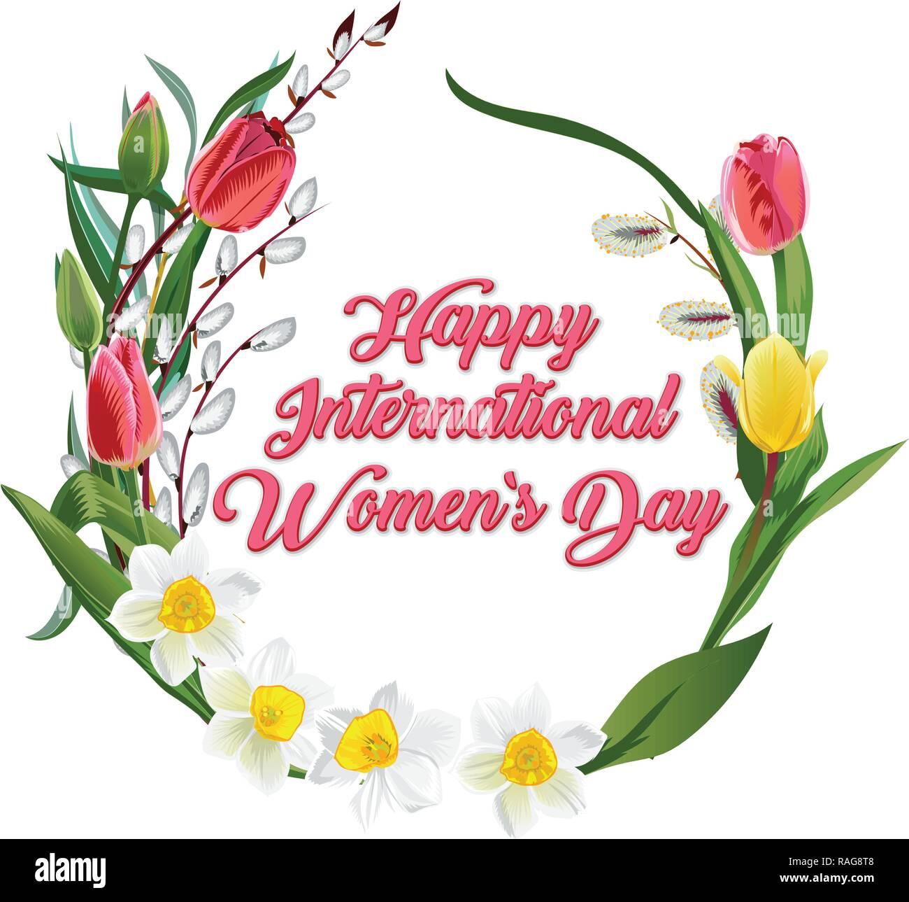 Happy Frauentag Grußkarte. Postkarte Am 8. März. Text Mit