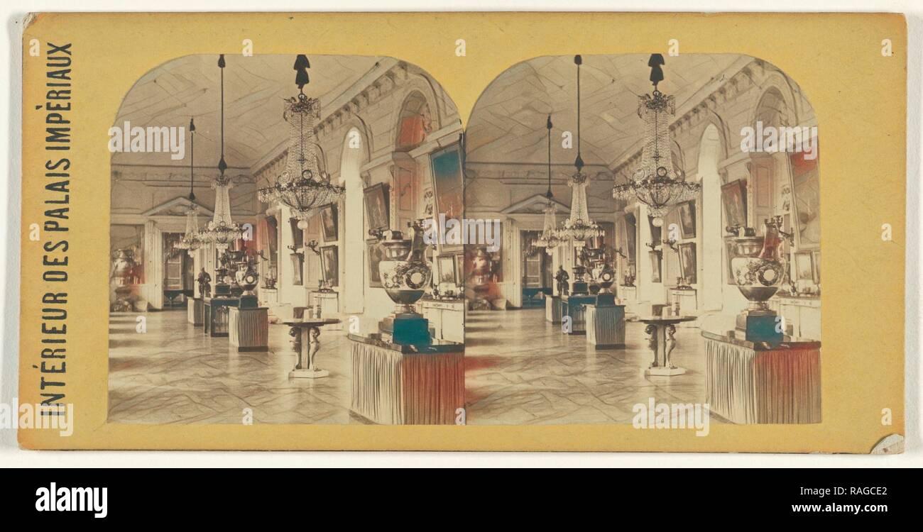 Grande Galerie, Trianon., Interieur des Palais Imperiaux, Französisch, über 1865, Eiweiß Silber drucken. Neuerfundene Stockbild