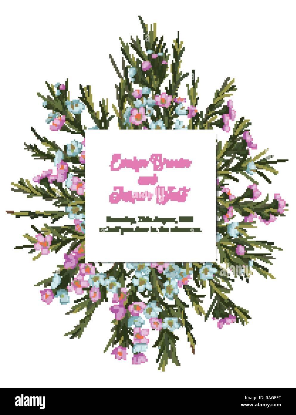 Vintage Aquarell Blumen Vektor Einladung Hochzeit Mit Einem Strauss