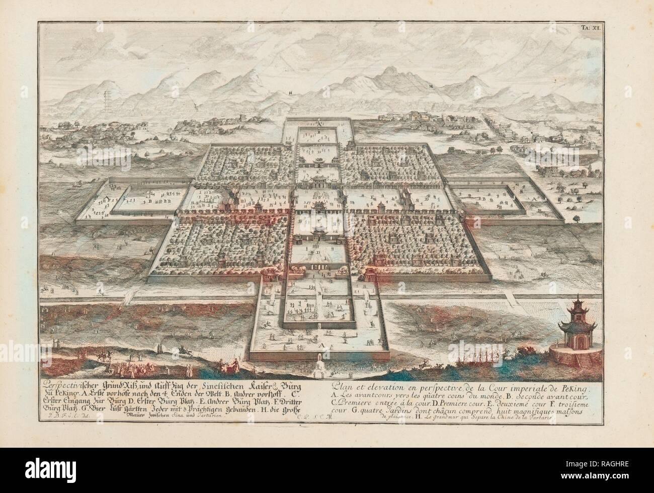 Grundriss und der Perspectivischer Auffzug Sinesichen Kaiser, Flechten, Burg zu Peking, Entwurff einer historischen Neuerfundene Stockbild