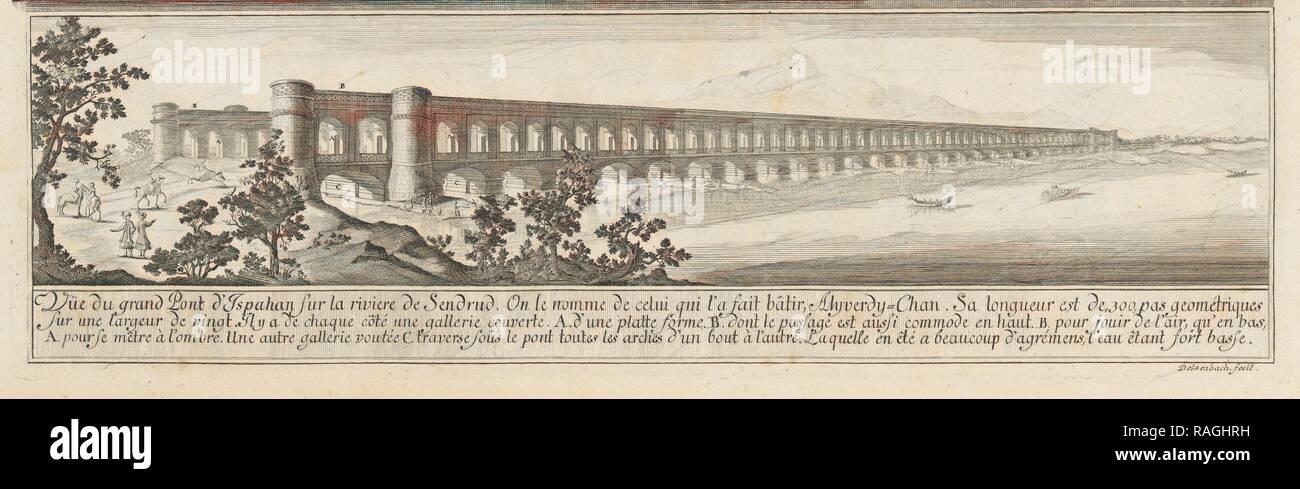 Vüe du Grand Pont d'Ispahan, Entwurff einer historischen Architectur: in Abbildung unterschiedener berühmten töpfermarkt Neuerfundene Stockbild