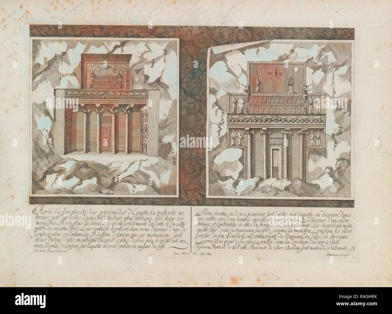 Les Saadiens de Persepolis, Entwurff einer historischen Architectur: in Abbildung unterschiedener berühmten töpfermarkt Neuerfundene Stockbild