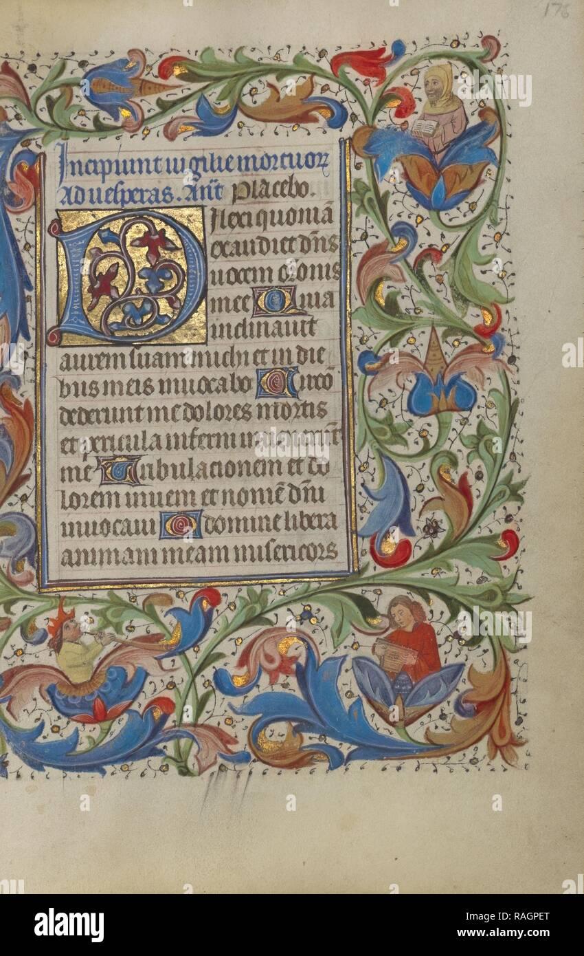 Initial D, Gent (wahrscheinlich), Belgien, 1450-1455, Tempera Farben, Blattgold, und Tusche auf Pergament dekoriert Neuerfundene Stockbild