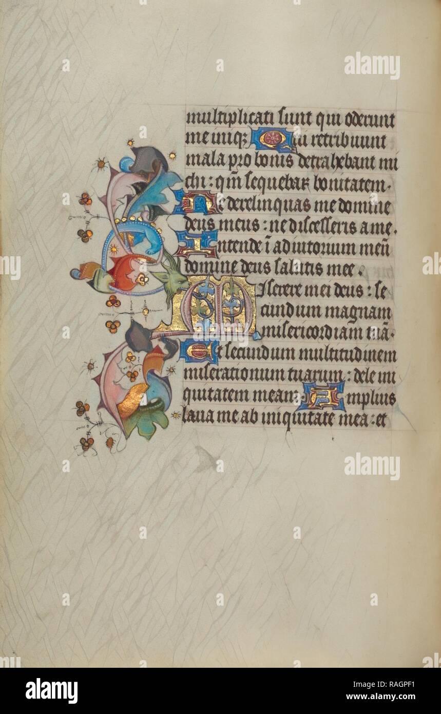 Erste M, Gent (wahrscheinlich), Belgien, 1450-1455, Tempera Farben, Blattgold, und Tusche auf Pergament dekoriert Neuerfundene Stockbild