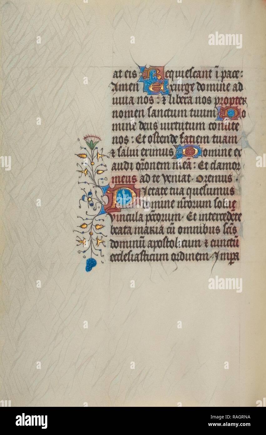 Dekoriert Text Seite, Gent (wahrscheinlich), Belgien, 1450-1455, Tempera Farben, Blattgold, und Tusche auf Pergament neuerfundene Stockbild