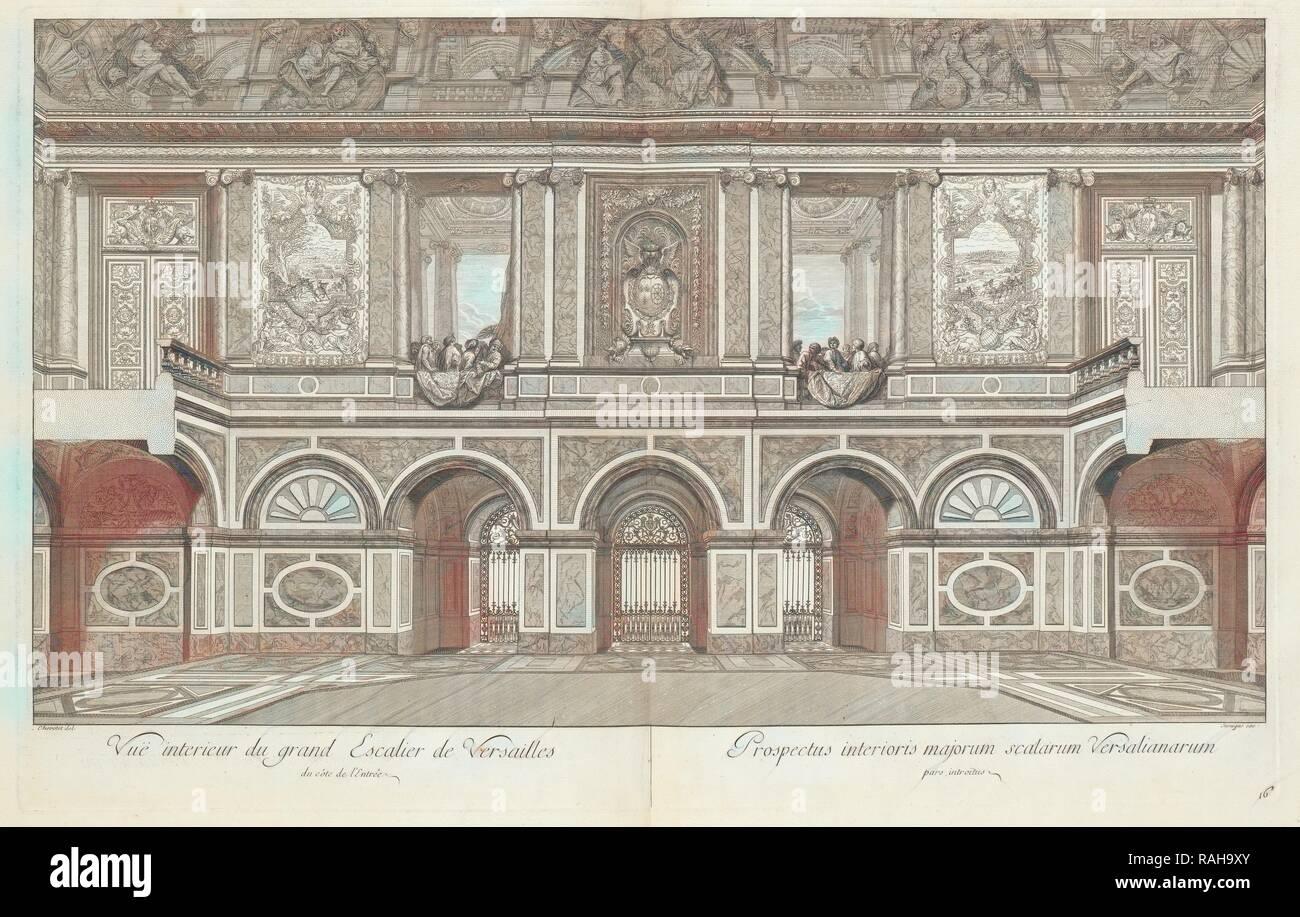 Vuë Interieur du Grand Escalier de Versailles Du côté de l'entrée, Grand Escalier du Château de Versailles dit Neuerfundene Stockbild