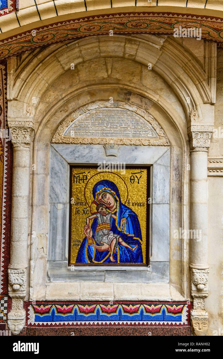 Der Marien Mosaik, Kloster Kykkos, Zypern, Marienmosaik, Kloster Kykkos, Zypern Stockbild