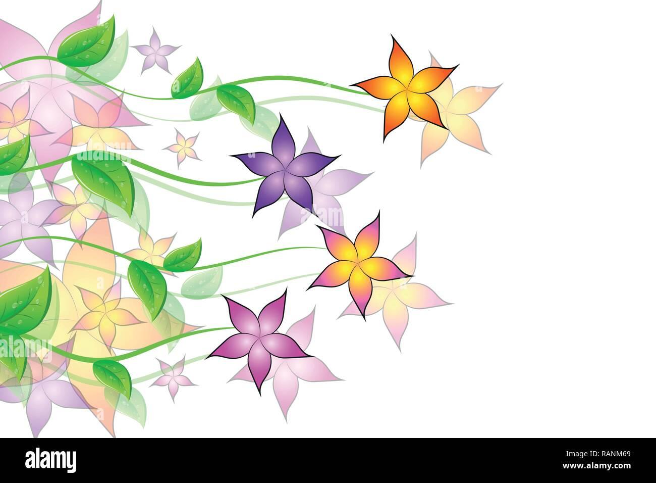 Bunte Blumen Ranke flora Hintergrund Vektor-illustration EPS 10. Stockbild
