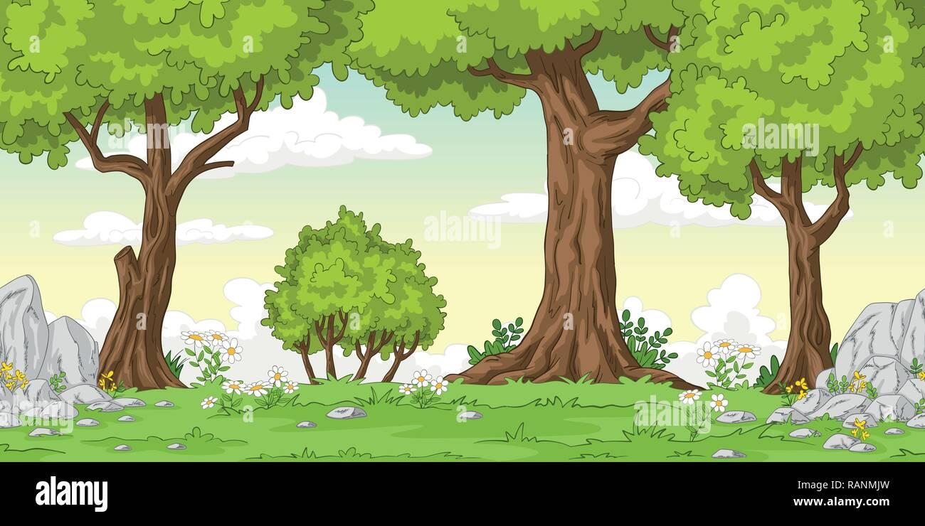 Cartoon Sommer Landschaft Mit Baumen Hand Zeichnen Abbildung Vektor