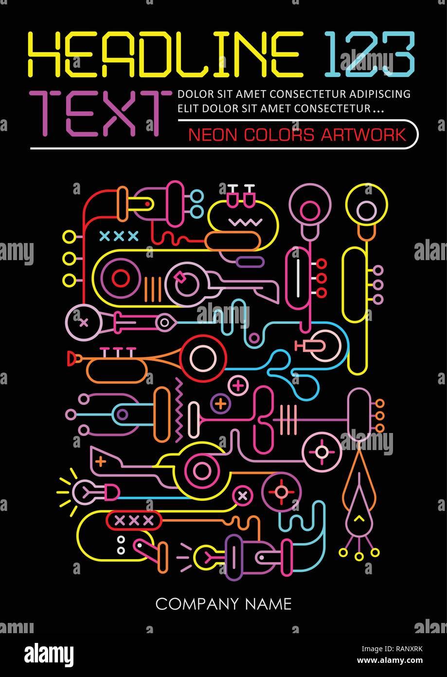 3d0d6110f1ee Neon Farben auf schwarzem Hintergrund abstrakte Kunst Design Vector ...