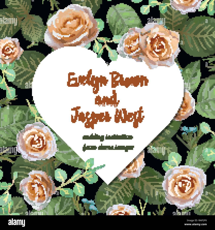Blumen Hochzeit Einladung Elegante Einladen Karte Vektor Design