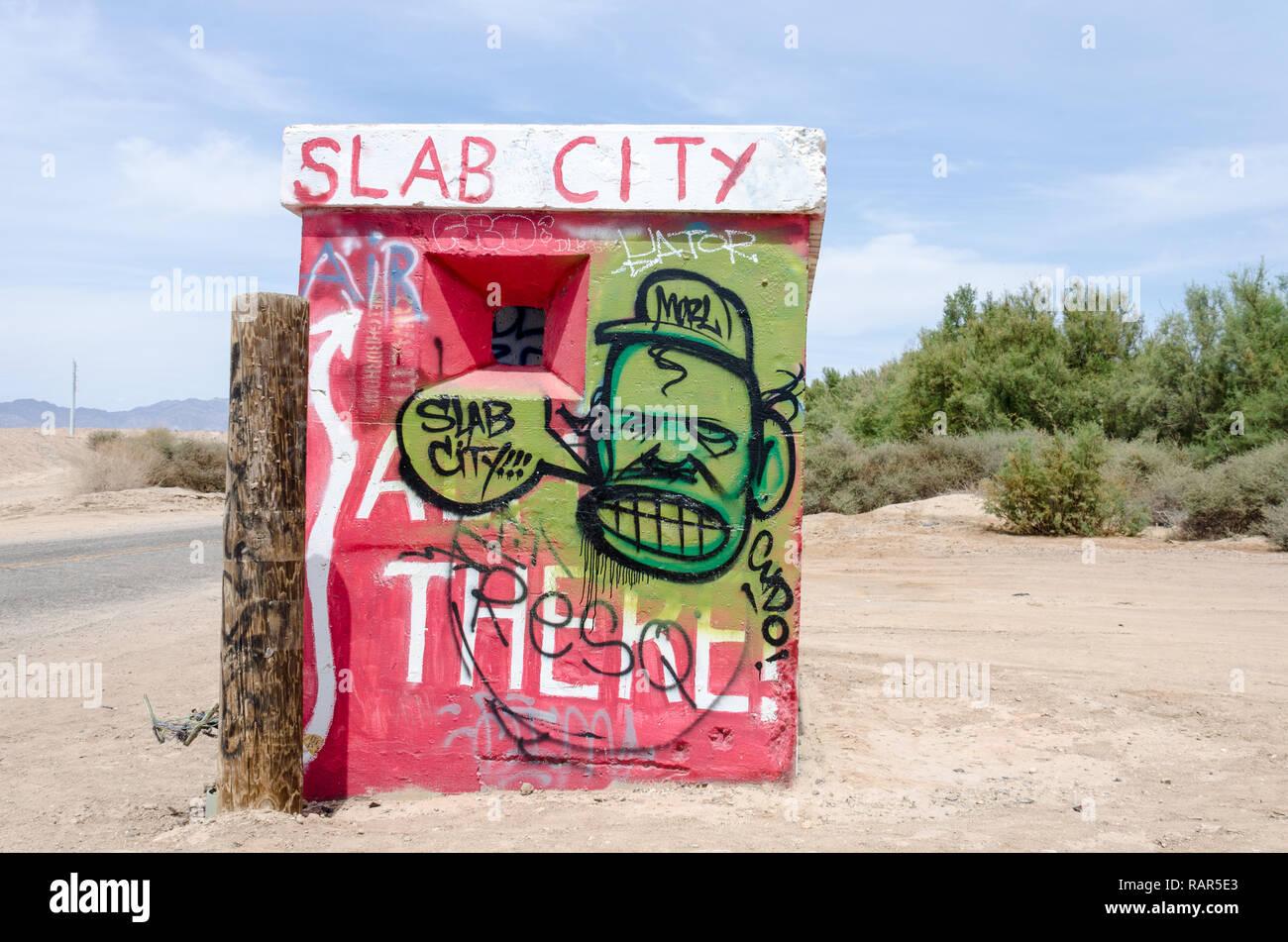 21 August 2018 Slab City Ca Eingangsschild Zu Slab City Ein