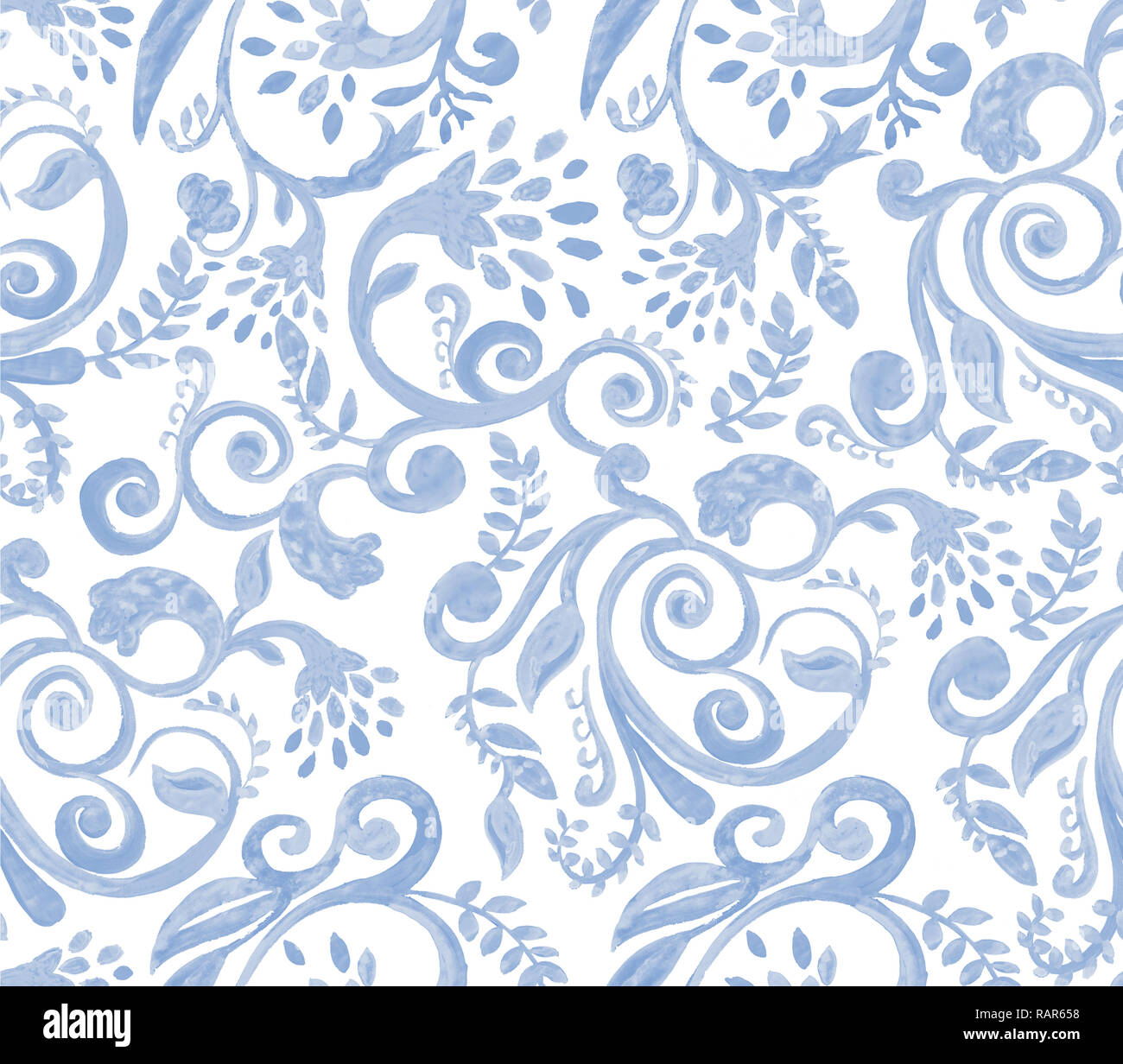 f29db06478e09e Blaue Blumen Muster auf weißem Hintergrund. Hand Made Aquarell nahtlose  Textur für Kleidung, Stoff