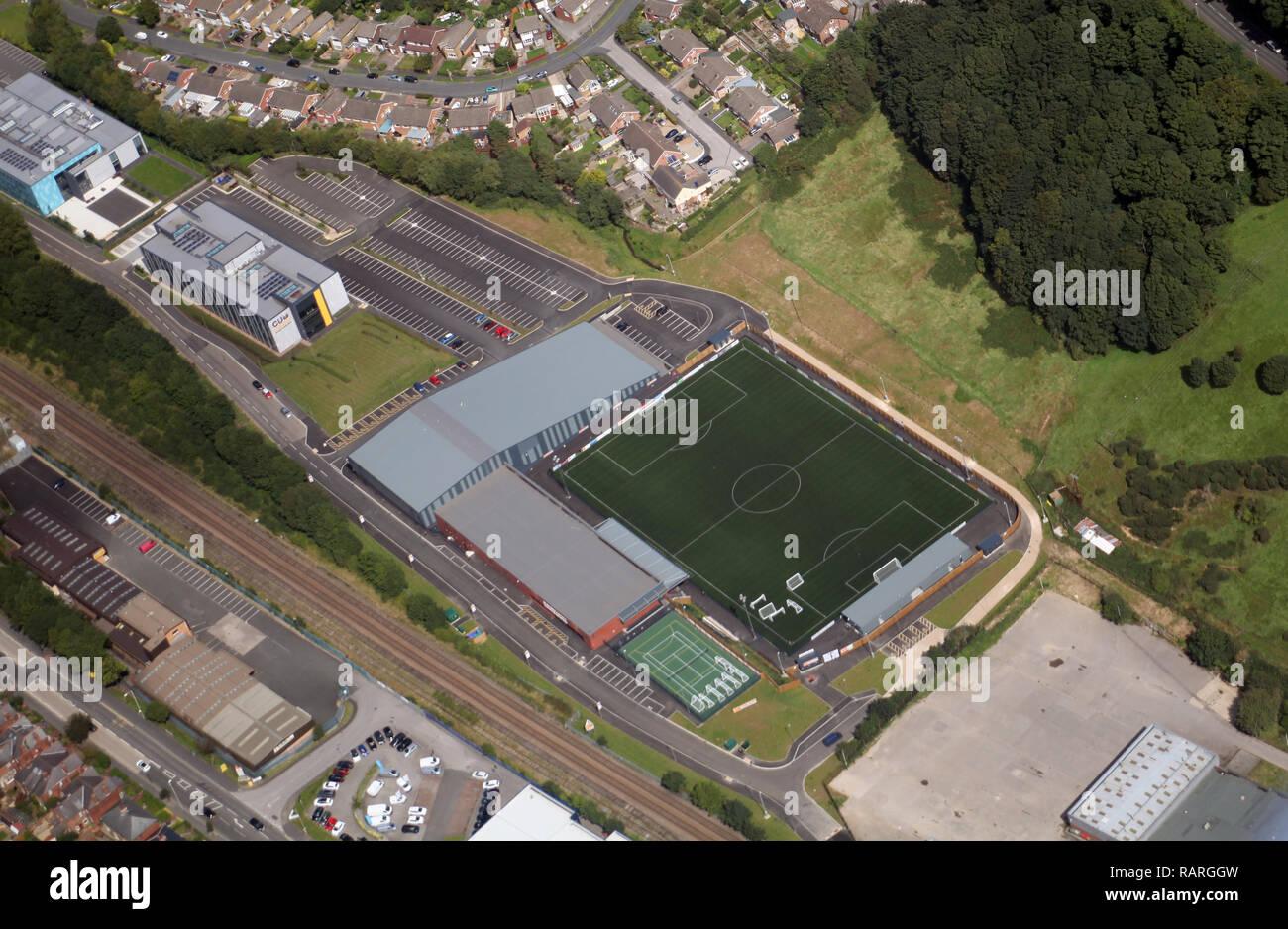 Luftbild der neuen Scarborough Football Club home Boden mit dem Sports Village, Universität Coventry (Scar Campus) und UTC im Hintergrund Stockbild