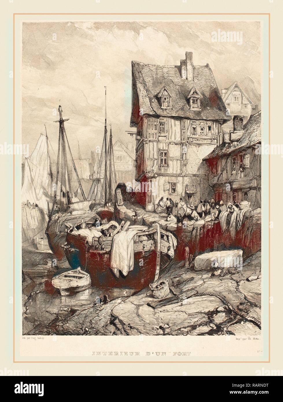 Eugène Isabey (Französisch, 1803-1886), Intérieur d'un Port, 1833, Lithographie. Neuerfundene durch Gibon. Klassische Kunst mit einem Neuerfundene Stockbild