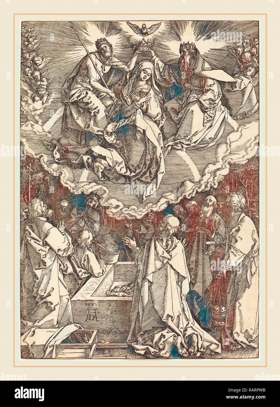 Albrecht Dürer (1471-1528), Mariä Himmelfahrt und Krönung der Jungfrau, 1510, Holzschnitt. Neuerfundene Stockbild