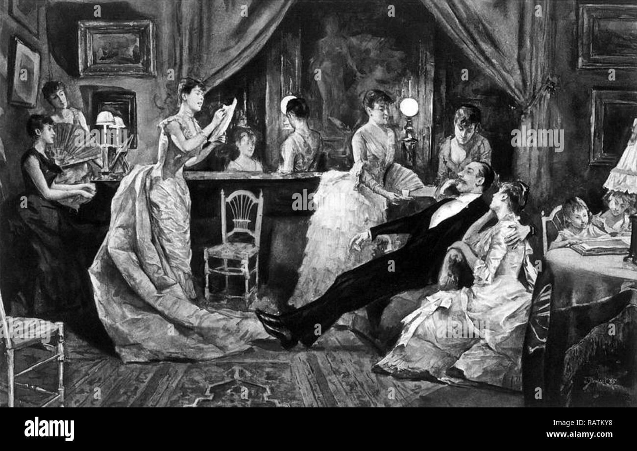 Mormonischen Familie als in einer amerikanischen Zeitschrift über 1870 dargestellt Stockbild