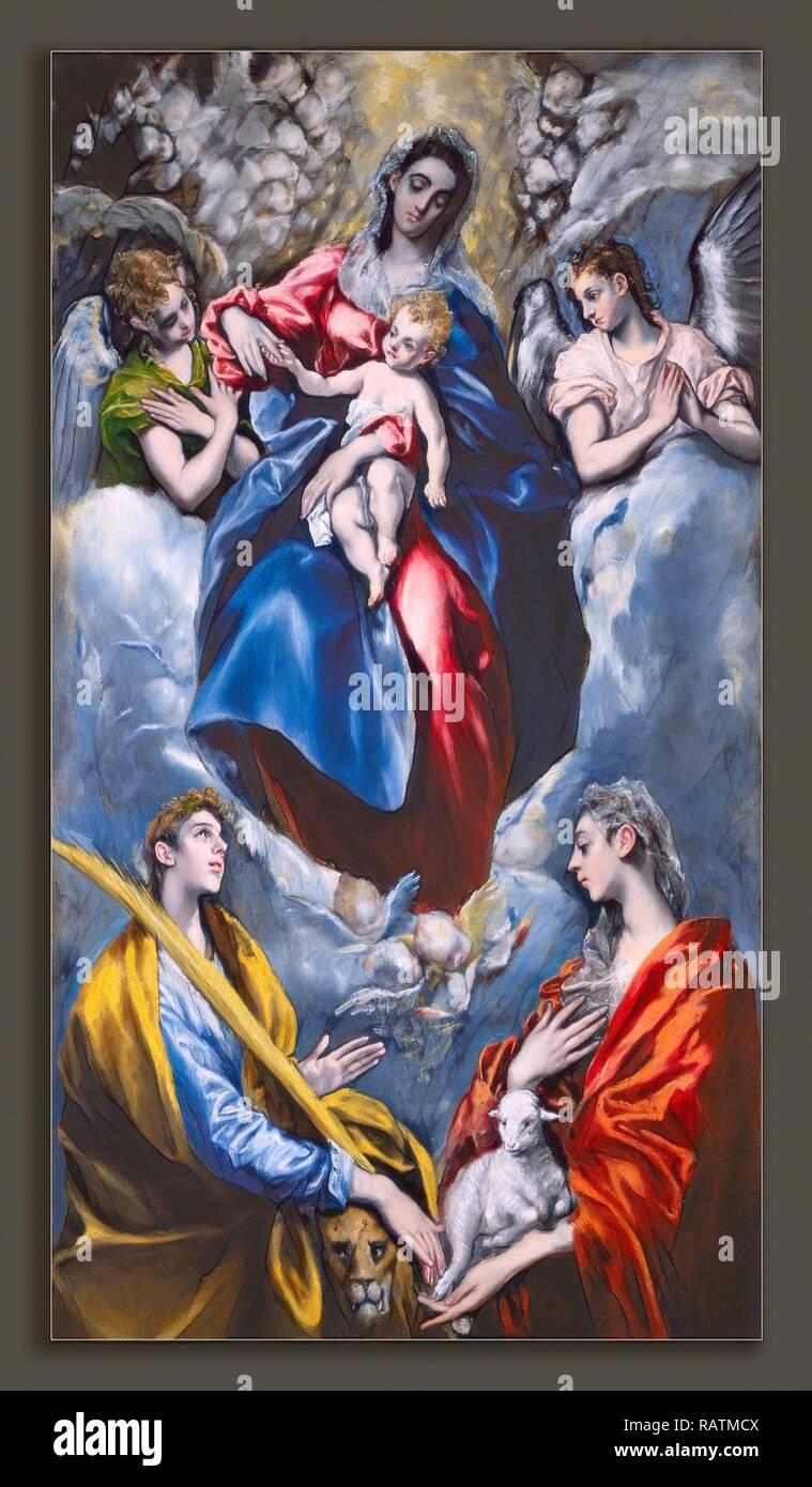 Madonna And Child With Saint Agnes And Saint Martina Stockfotos