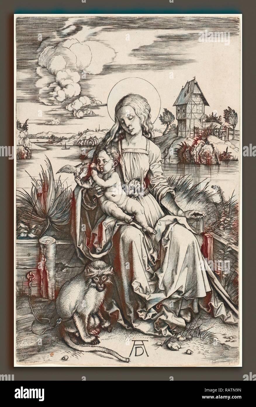 Albrecht Dürer (1471 - 1528), die Jungfrau und Kind mit der Affe, C. 1498, gravieren. Neuerfundene Stockbild