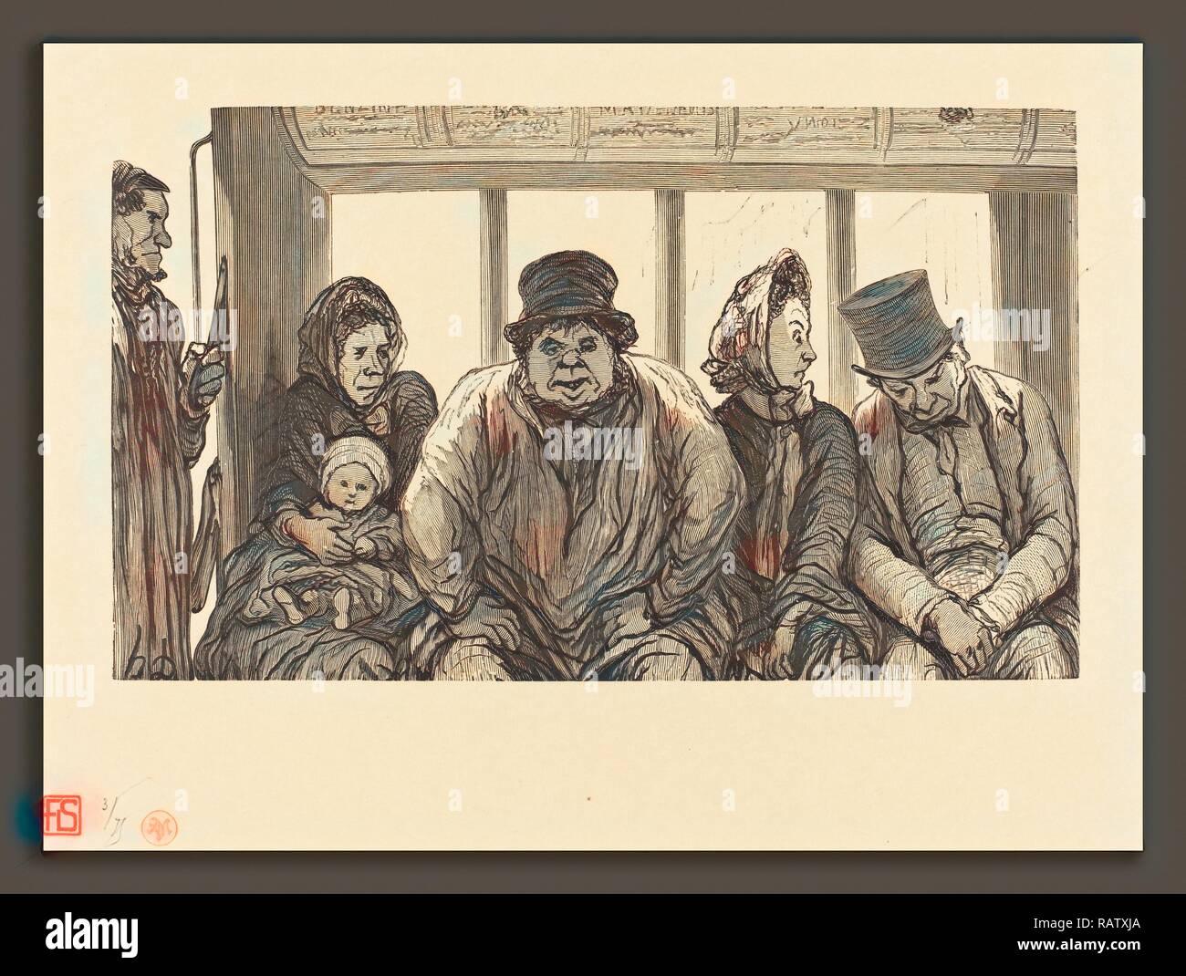 Charles Maurand nach Honoré Daumier (Französisch, aktive 1863-1881), Interieur d'un-Omnibus, 1864, holzstich Neuerfundene Stockbild