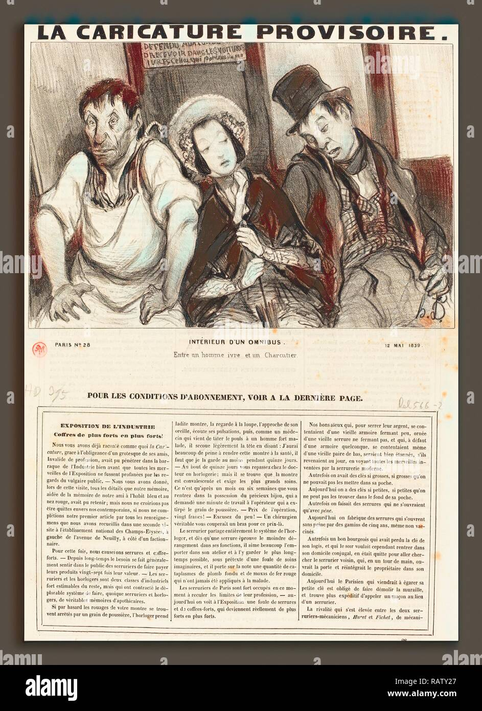 Honoré Daumier (Französisch, 1808-1879), Intérieur d'un-Omnibus, 1839, Lithographie auf Zeitungspapier. Neuerfundene Stockbild
