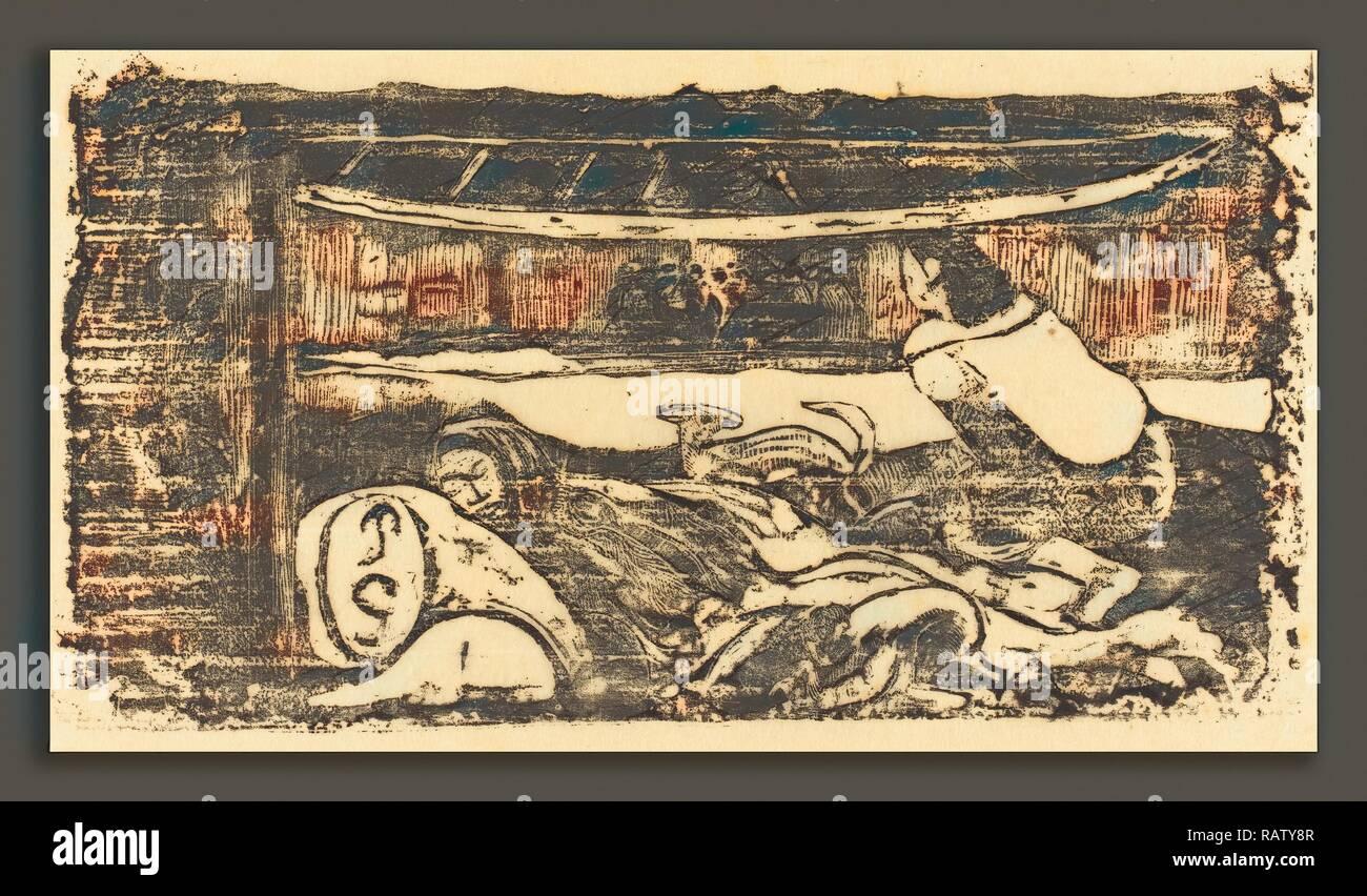 Paul Gauguin (Französisch, 1848-1903), Innere der Hütte (Interieur de Fall), in oder nach 1895, Holzschnitt in Schwarz neuerfundene Stockbild