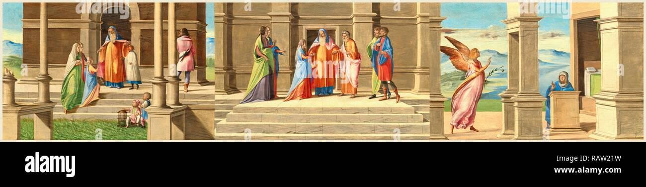 Benedetto Diana, Italienisch (C. 1460-1525), der Präsentation und der Ehe der Jungfrau und der Verkündigung, 1520-1525 neu konzipiert Stockbild