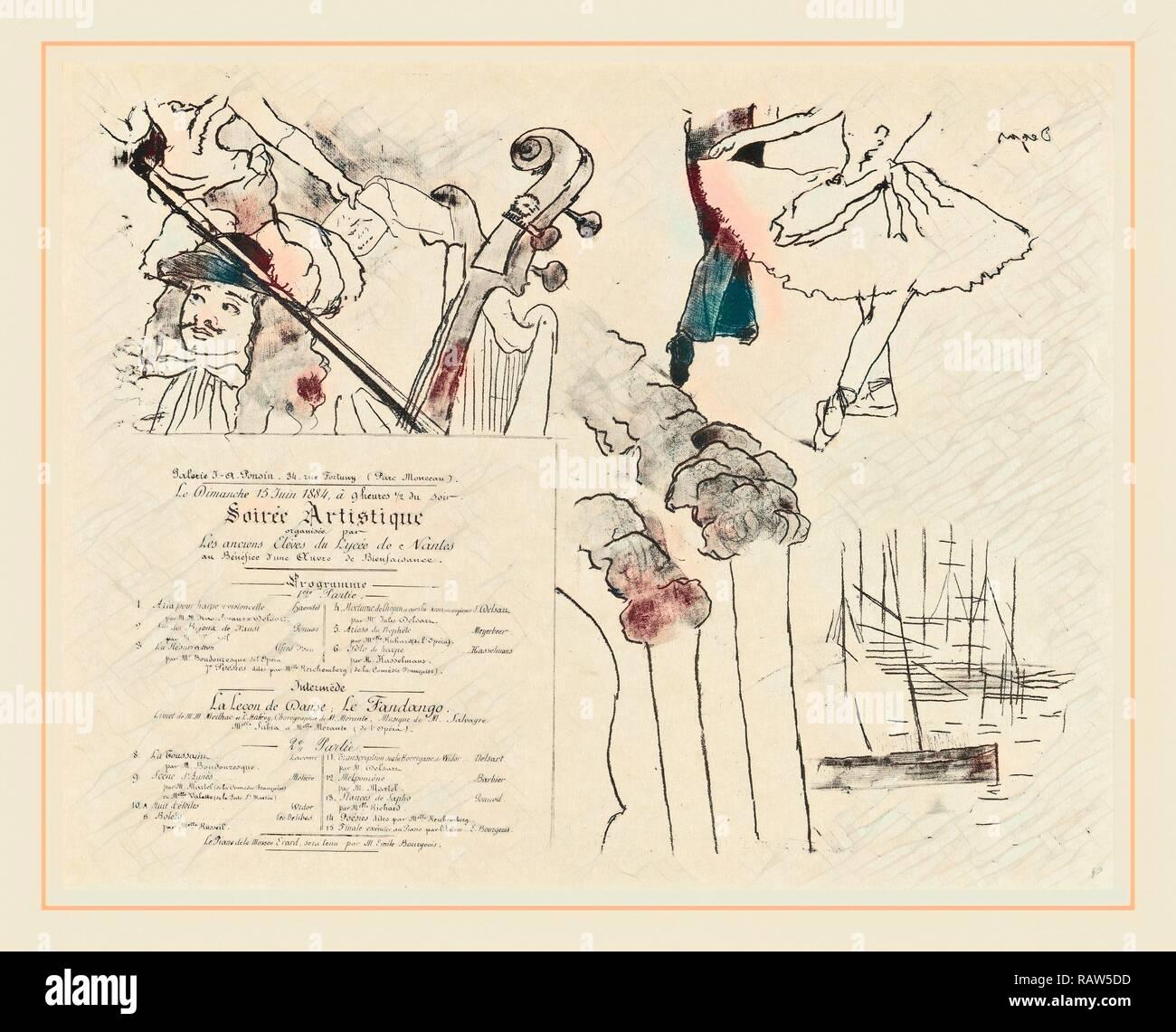 Edgar Degas, Programm für die Soiree Artistique (Programm de la Soirée des Anciens élèves du Lycée de Nantes), Französisch neuerfundene Stockbild