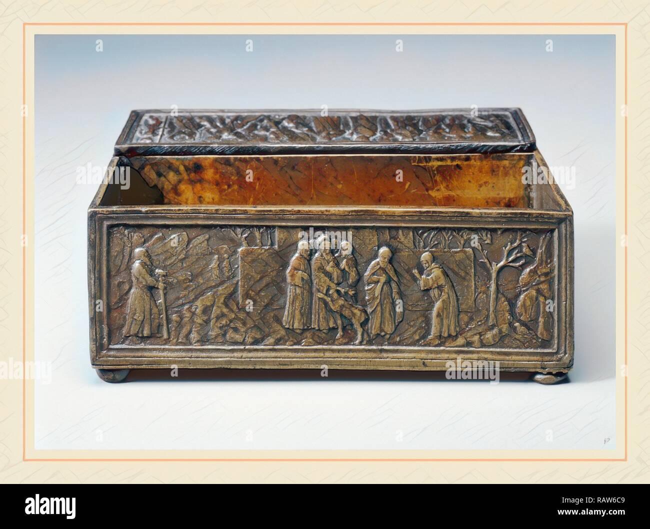 Bartolomeo Spani, Saint Simeon von polirone und das Wunder der Hirsch, Italienisch, 1468-1539, wahrscheinlich C. 1516, Bronze Neuerfundene Stockbild