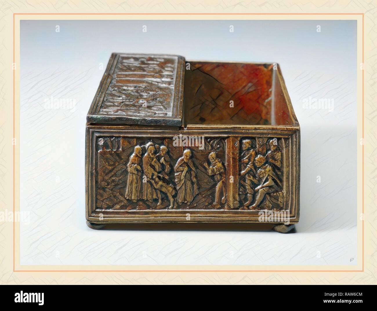 Nach Bartolomeo Spani, zwei Szenen aus dem Leben des Heiligen Simeon von polirone: Das Wunder der Hirsch (Vignette) und Neuerfundene Stockbild